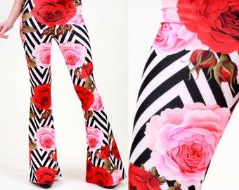 2d822b373ebc4 Flare Pants, Bell Bottoms, Harem Pants, Yoga Pants, Palazzo Pants, Wide Leg  Pants, 70s Boho Hippie Women Pants, Boho Pants, Pants, Roses