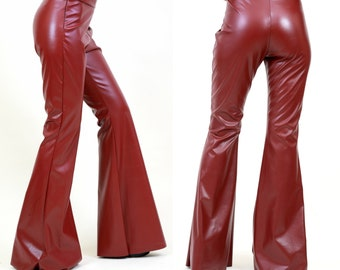 59130cf2b55 Faux Leather Flare Pants