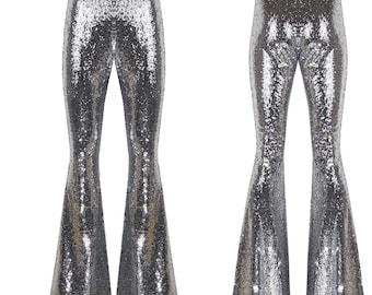 Silver Sequin Flare Pants, Bell Bottoms, Harem Pants, Yoga Pants, Palazzo Pants, Wide Leg Pants, Boho Hippie Women Pants, Boho Pants, Pants