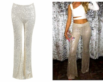 Champagne Sequin Flare Pants, Bell Bottoms, Sequin Flare Pants, Sequin Bell Bottoms, Flare Pants, Bell Bottoms,Flared Trousers, Sequin Pants