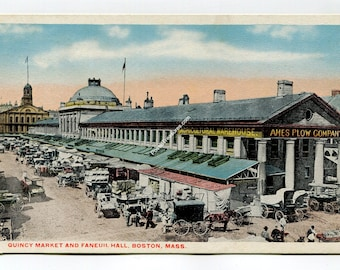 Quincy Market and Faneuil Hall Boston Massachusetts Postcard