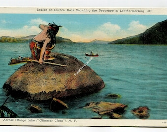 Indian on Council Rock Watching Departure of Leatherstocking Across Otsego Lake New York Postcard