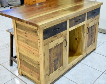 Rustic Kitchen Island with Bar Stools & Rustic kitchen island | Etsy