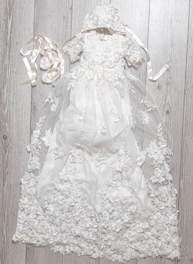 floral Baptism girl dress Ready to ship Baptism girl gown Christening Gown set Baptism girl gift