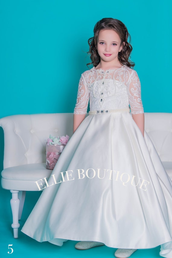White Flower girl dress, baby white lace dress, lace flower girl dress, toddler lace dress, bohemian flower girl dress (005)