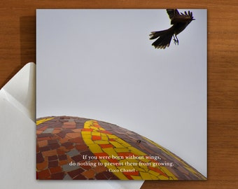 inspiration | nature | quote greeting card with bird and mosaic