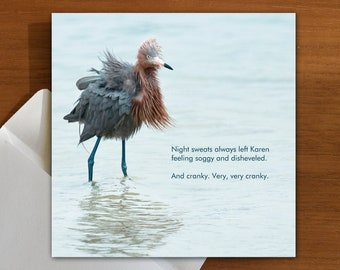 night sweats | menopause | cranky | funny greeting card with egret bird