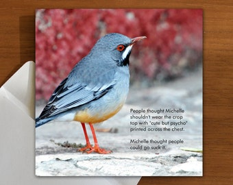 menopause | funny greeting card with bird | age appropriate clothing