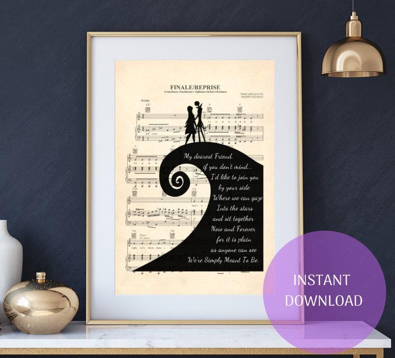 Nightmare Before Christmas Jack and Sally Simply Meant To Be Sheet Music  Art Print   NBC art  Tim Burton Art