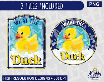 Funny Rubber Duckie Graphic - What the Duck | yellow toy bath duck, funny drink saying, for Printer, Cricut, sublimation, waterslides, cups