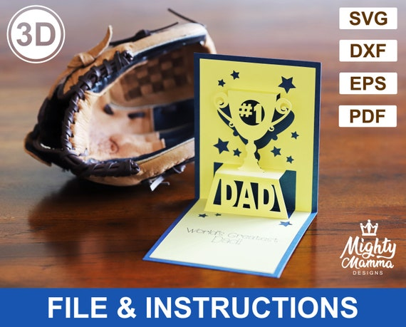 Number 1 Dad 3d Pop Up Card Svg Cutting File For Cricut Pdf Etsy