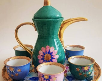 318bdad20aa Handmade Porcelain Moroccan Tea Set, Turkish Arabic Coffee Cups & Pot,  Arabic Mirra Qawa Cups Set of 6 - Bohemian Tea Party Set
