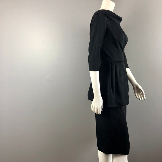 50s Black Peplum Dress - image 4