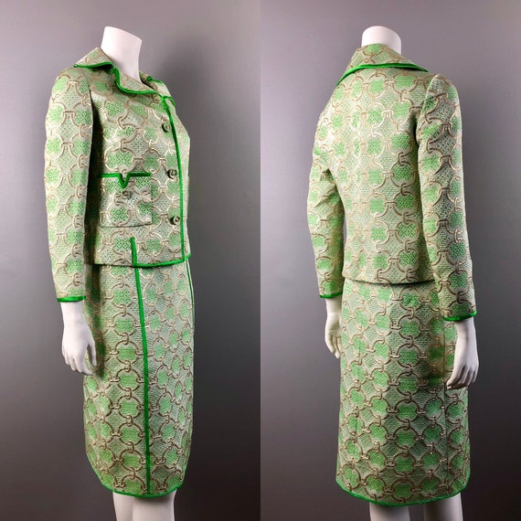60s Gold & Green Brocade Skirt Suit Handmade