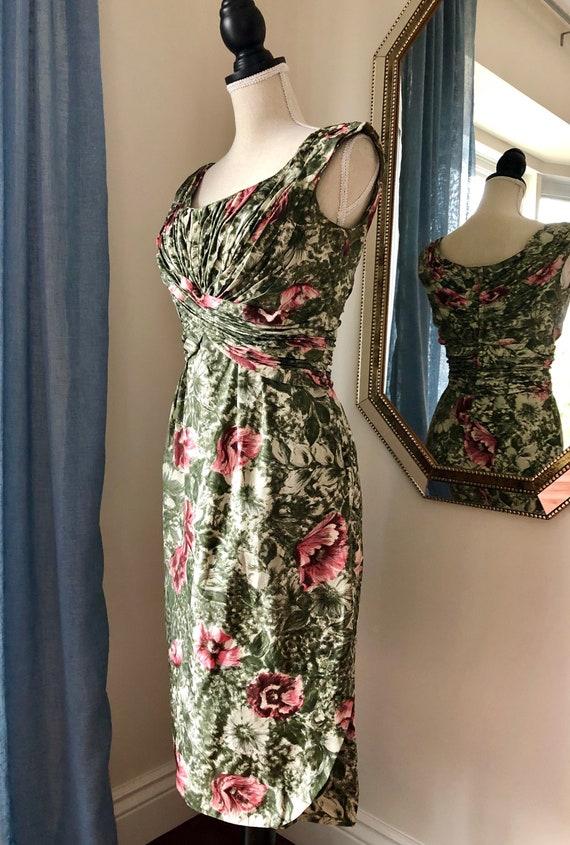 50s Ceil Chapman Silk Cocktail Dress Size 4 - 6