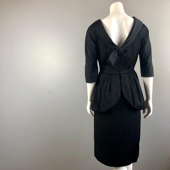 50s Black Peplum Dress - image 6