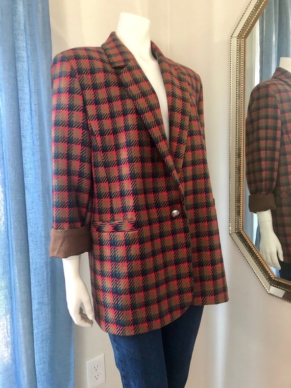 80s Plaid Oversized Bianca Blazer