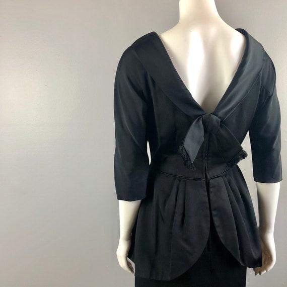 50s Black Peplum Dress - image 5