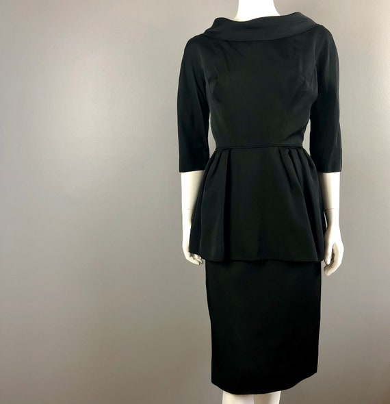 50s Black Peplum Dress