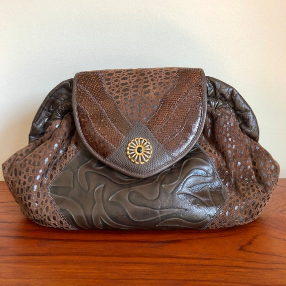 80s Vintage Brown Leather Purse