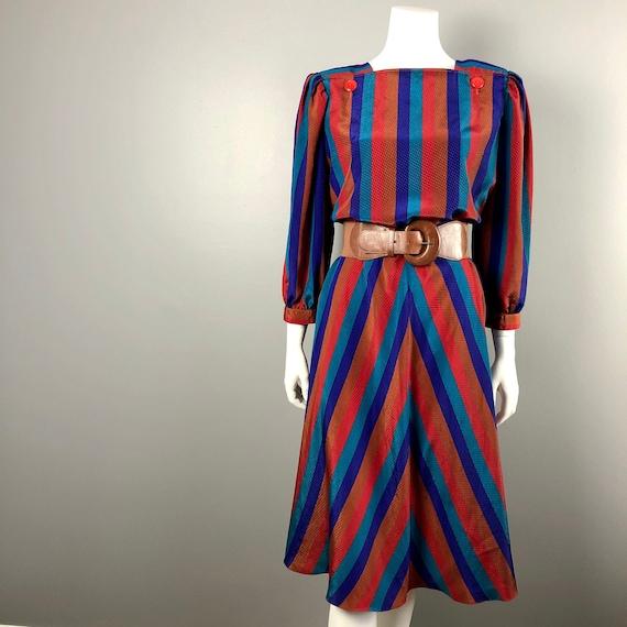 80s Bold Striped Dress by Leslie Fay