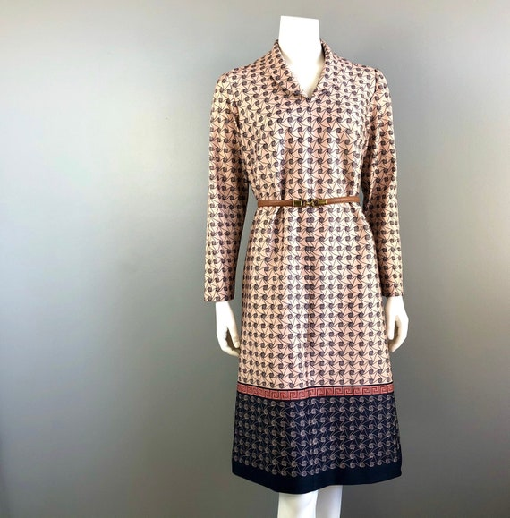 70s Vintage Dress Swirl Greek Key Neutral Burnt Or