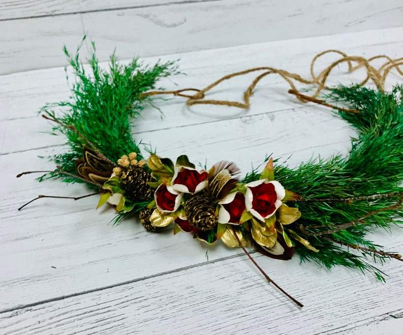 White Flowers or Red Flowers Brides Natural Dried Greens Floral Crown New Years Seasonal
