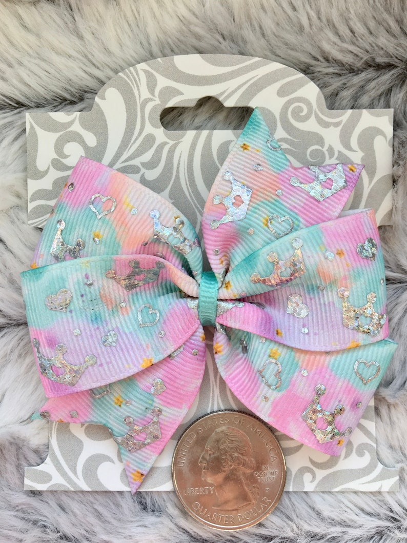 3 In Dog Collar Bow Dog Hair Bow Wigglebutt Bows Pastel and Holographic Foil Tiaras Bow /& Optional Rhinestone Tiara or Crystal Center