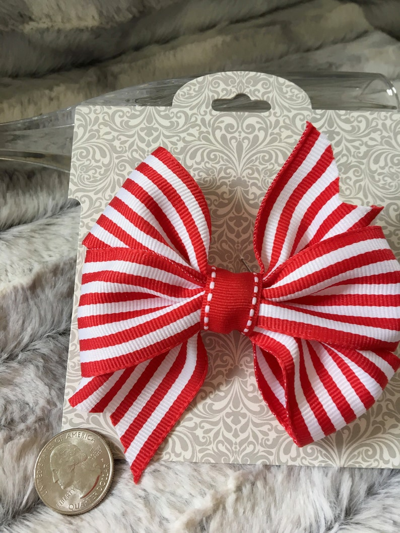 Dog Collar Bow Wigglebutt Bows Red and White Striped Bow for Dog Collar or Hair 4 In Hair Bow