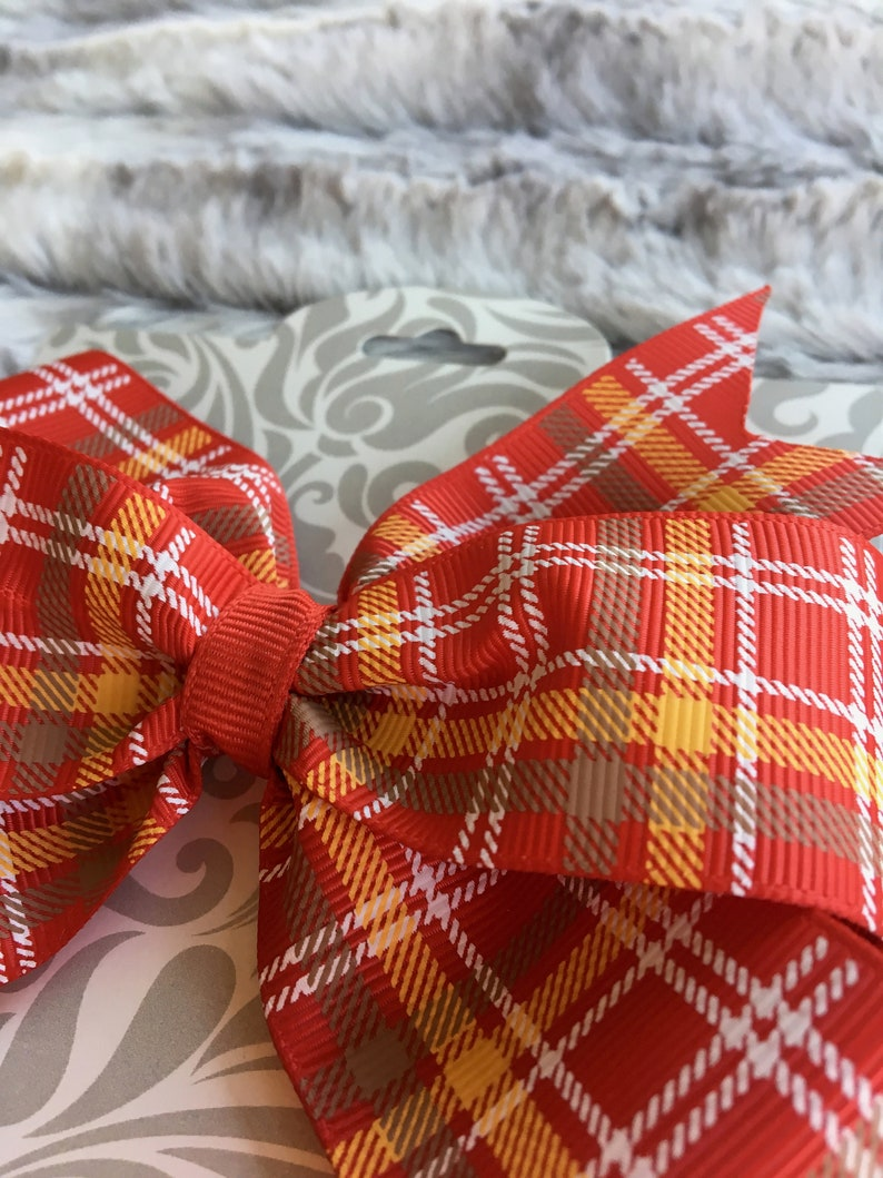 Premium Quality Red and Golden Yellow Plaid Ribbon Bow 5  In Dog Collar Bow Wigglebutt Bows Hair Bow
