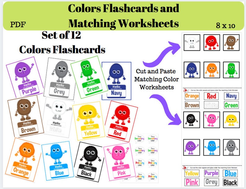 photograph relating to Colors Flashcards Printable referred to as Colours Flashcards Printable Down load // Shades // Monsters // Flashcards