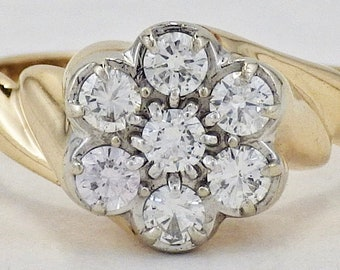 4af034f1e Estate Zales 14K Yellow Gold .35 CTTW 7 Diamond Cluster Ring Size 6 1/2