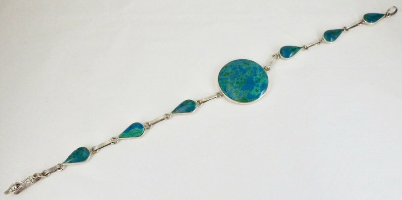 Vintage Sterling Silver Round and Teardrop Malachite Link Bracelet 8 12