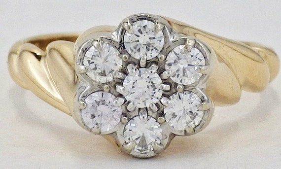 Estate Zales 14k Yellow Gold 35 Cttw 7 Diamond Cluster Ring Etsy