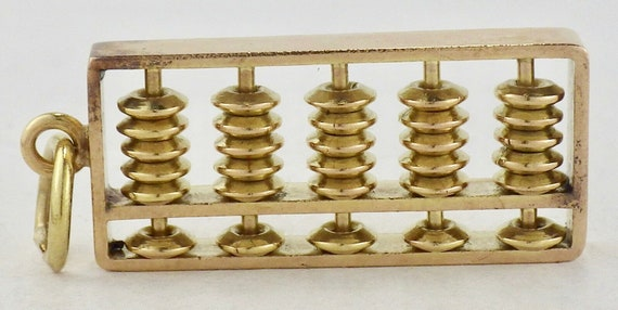 Vintage 14K Yellow Gold Working Chinese Oriental Abacus Charm Pendant
