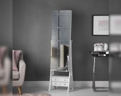 Nikita - White Standing Full-Length Mirror Jewellery Cabinet with Internal LED Lights 6 Drawers Bedroom Storage