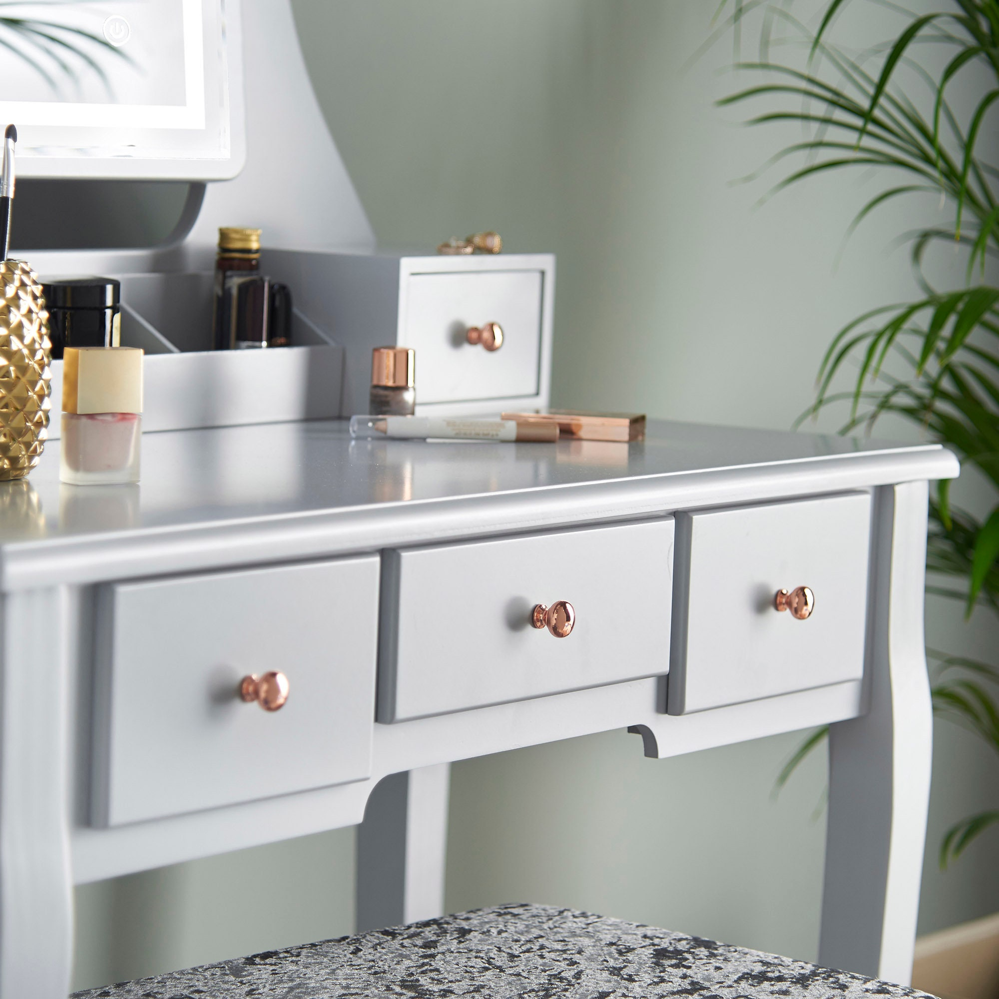 Grey Dressing Table With Touch Vanity Mirror Led Lights And 5