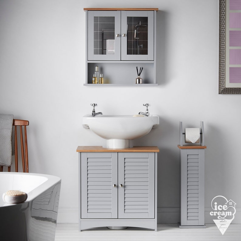 Grey Bathroom Wall Mounted Cabinet With Mirror Under Sink And Etsy