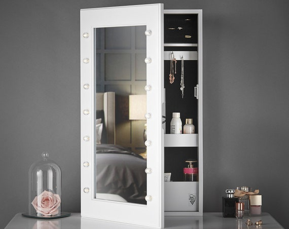 White Desktop / Wall Mounted Mirrored Jewellery Cabinet with LED Lights  Tabletop Bedroom Storage Organiser