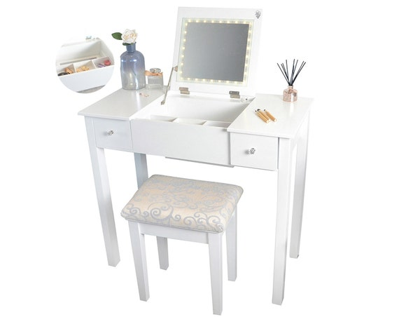 Fine White Dressing Table With Led Lights 2 Drawers Flip Top Mirror Stool For Bedroom Makeup Jewellery Storage Ncnpc Chair Design For Home Ncnpcorg