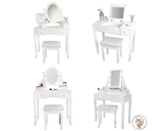 Surprising Hollywood Dressing Table With Led Lights Mirror Stool Drawers Set For Jewellery Storage Makeup Bedroom Pabps2019 Chair Design Images Pabps2019Com