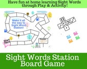 """Sight Words Station """"Board"""" Game Printable"""