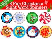 8 Sooo FUN & cute Christmas Sight Word Spinners!