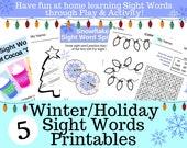 Winter/Holiday Printable Sight Word Worksheets