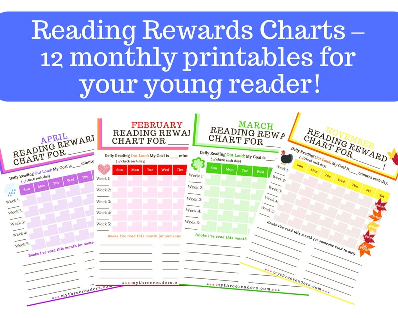 Reading Rewards Charts  12 monthly Printables for Your Young image 0