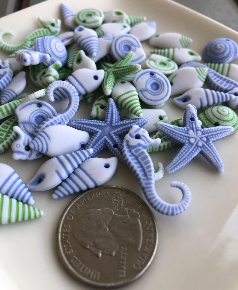 Craft Supplier Beachy Beads Craft Supplier Summer Beads Seashore Beads Seahorse Beads Starfish Beads Beach Bead Mix Bead Supplier