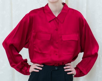 00c40836 90s red silk blouse large | bright red silk button down shirt | minimalist silk  blouse | minimal silk shirt | deep red long sleeve blouse