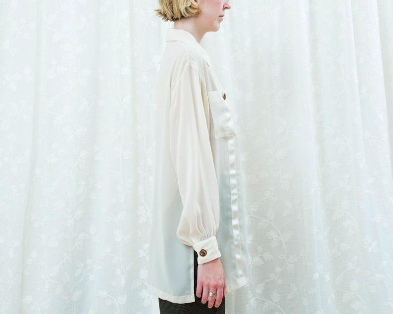 cream minimalist blouse minimal ribbon trim metal button blouse 80s ivory sheer blouse white see through button down shirt