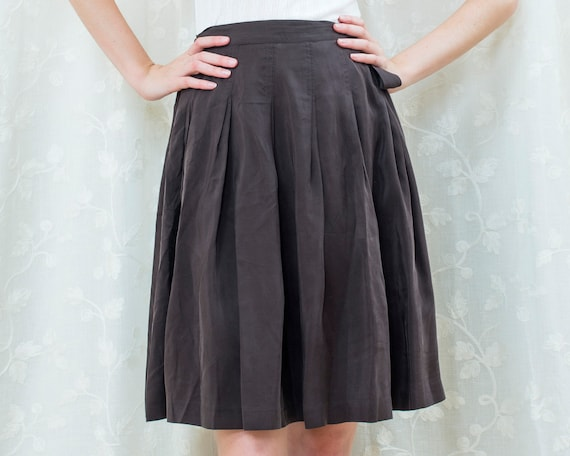 90s brown silk pleated wrap skirt medium | 29 wais