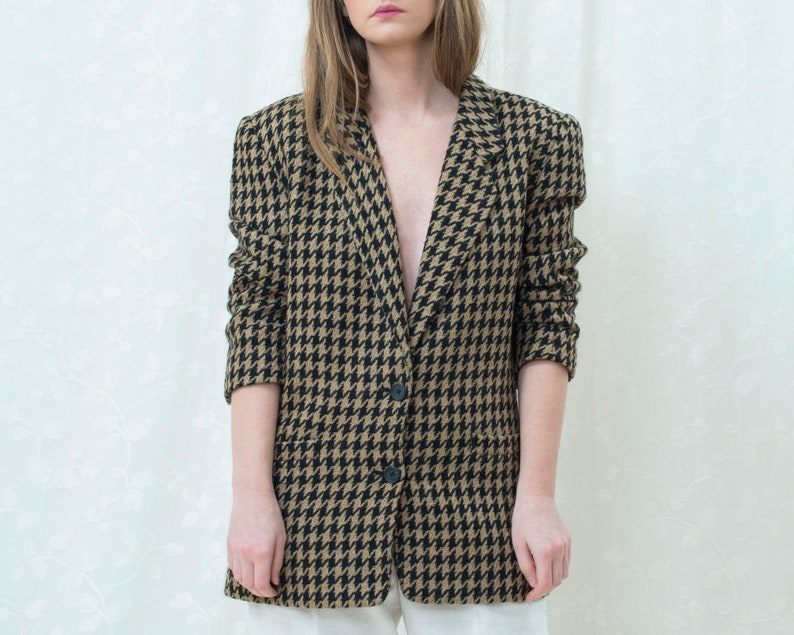 houndstooth jacket 80s black tan houndstooth power blazer large preppy minimalist wool power suit blazer minimal two button blazer